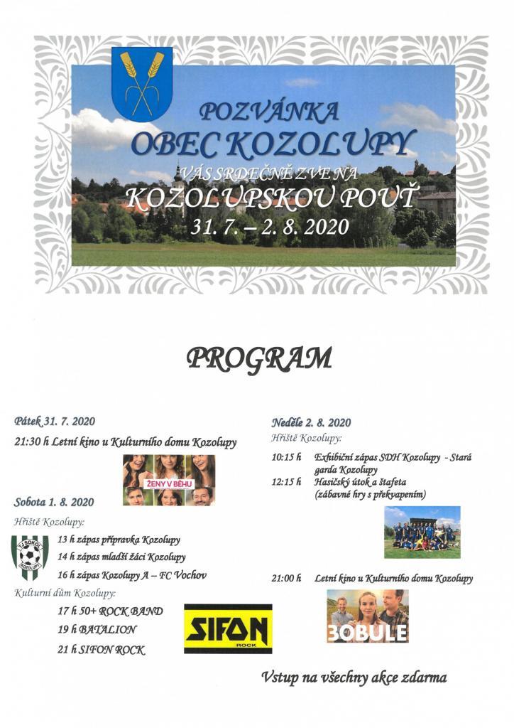 Kozolupská pouť 31.7. - 2.8.2020