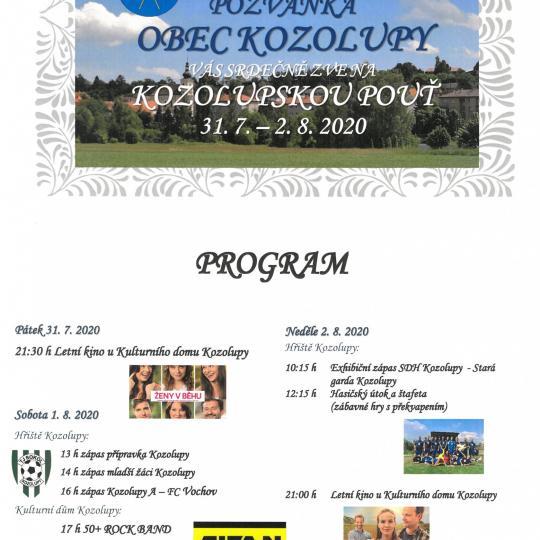 Kozolupská pouť 31.7. - 2.8.2020 1