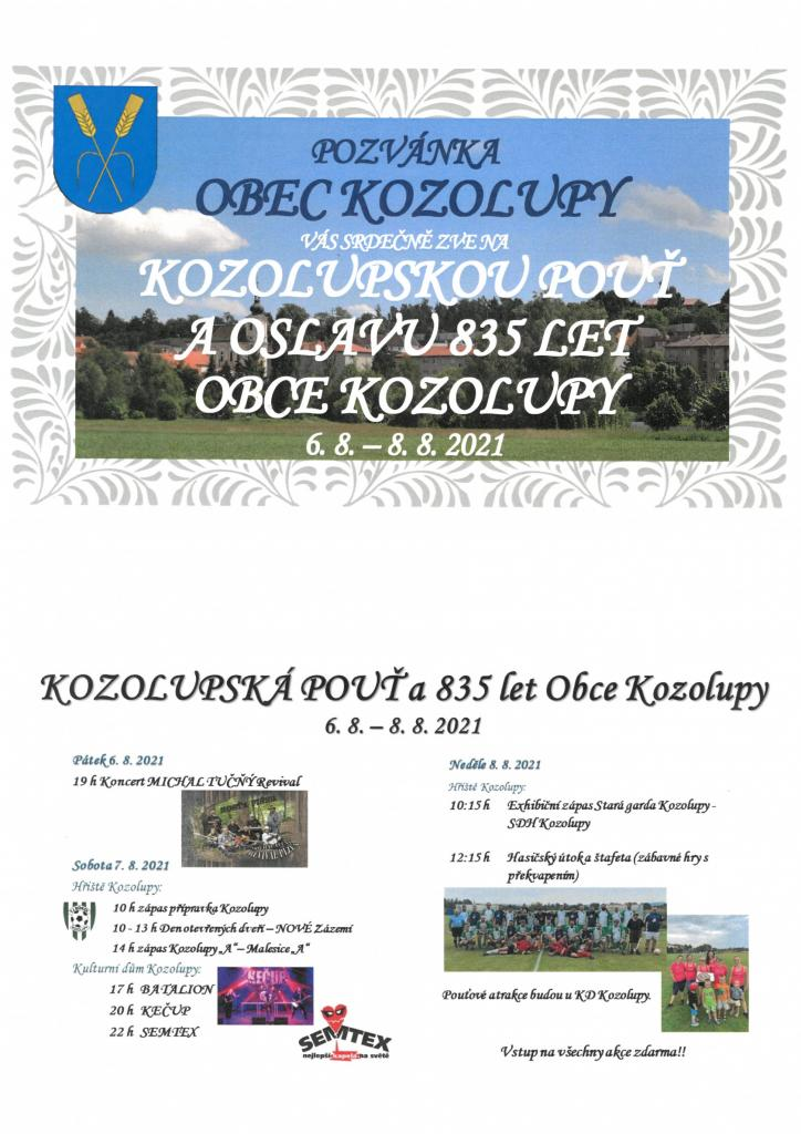 Kozolupská pouť a oslavy 835 let Obce Kozolupy