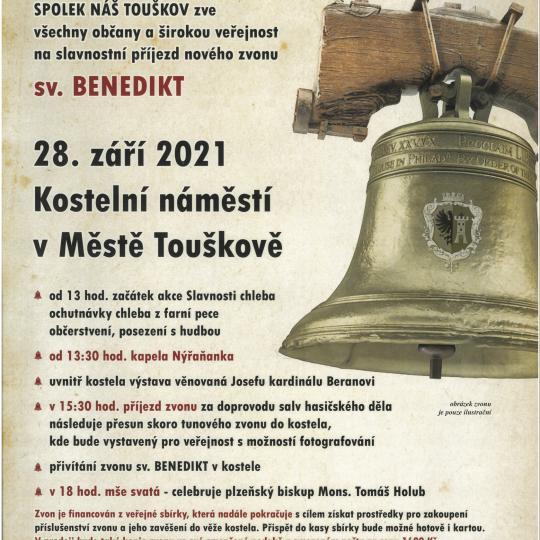 Město Touškov - příjezd zvonu sv. Benedikt 1