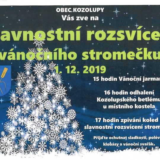 Slavnostní rozsvícení vánočního stromečku a jarmark 1. 12. 2019 1