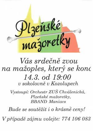 Plzeňské mažoretky - ples - PŘELOŽENO na 9.10.2020!